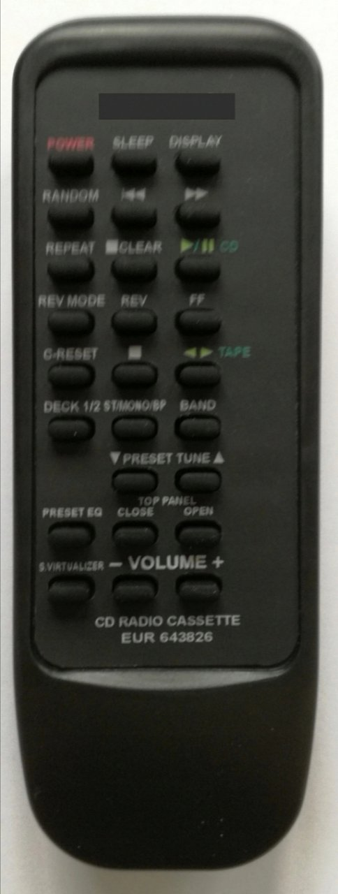 Panasonic EUR643826 replacement remote control with same discretion for RX-ED77